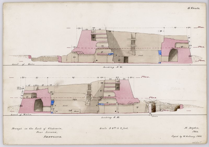 Section through Clickimin broch, looking NW; section through broch looking SE, with annotations and measurements, and indications of levels used for plans. Drawn by Dryden in 1866 and copied by Galloway in 1868. Titled: 'Brough in the Loch of Clickemin. Near Lerwick. Shetland'.
