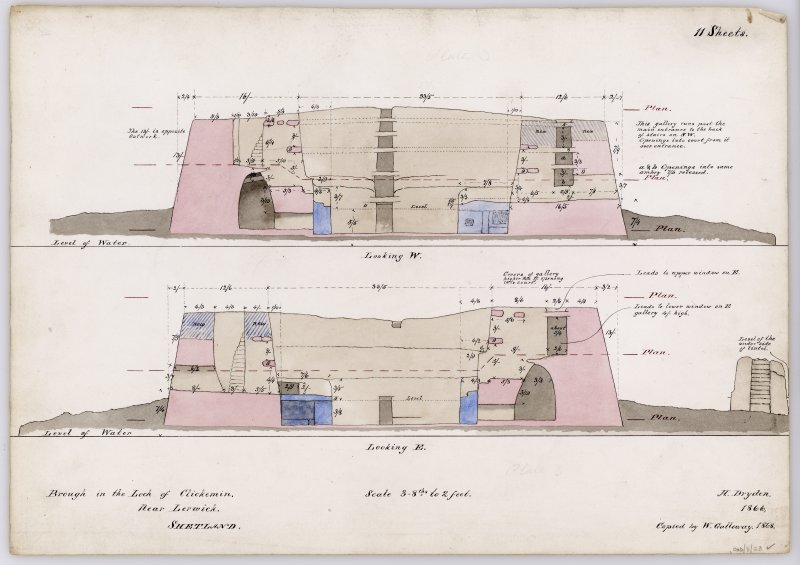 Section through Clickimin broch, looking W; section through broch looking E, with annotations and measurements, and indications of the levels at which the plans were drawn. Drawn by Dryden in 1866 and copied by Galloway in 1868. Titled: 'Brough in the Loch of Clickemin. Near Lerwick. Shetland'.
