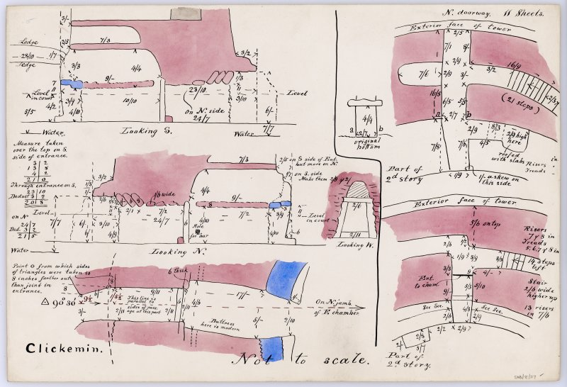Sketch plan and sections through the main entrance to Clickimin broch, plan of secondary doorway to NNW and plan of internal doorway to intramural gallery on S. All with annotations and measurements.  ...