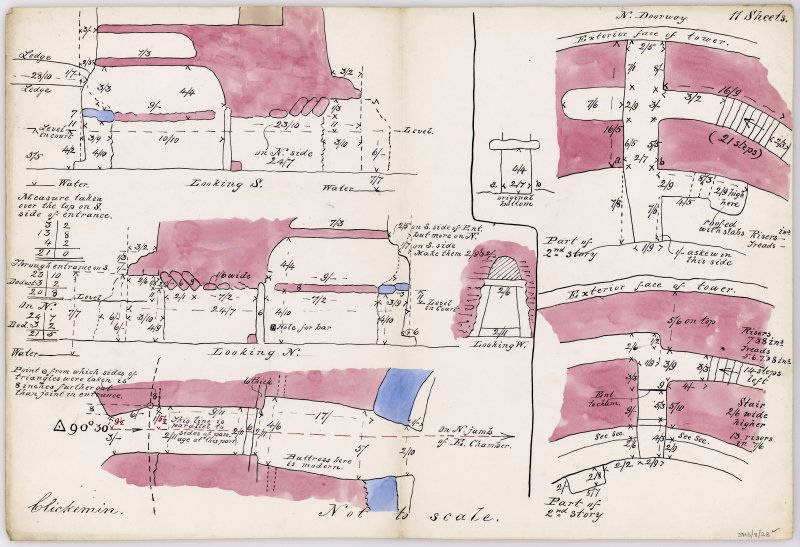 Sketch plan and sections through the main entrance to Clickimin broch, plan of secondary entrance on the NNW and plan of doorway to intramural gallery on the S. Unsigned and undated but in Dryden's hand.