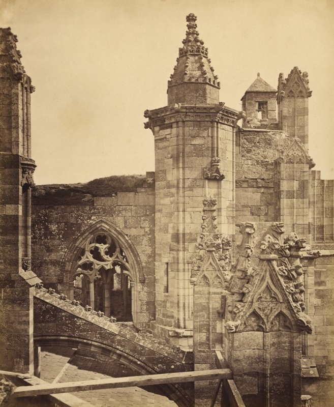 Detail of south transept gable and stair turret, Melrose Abbey.
