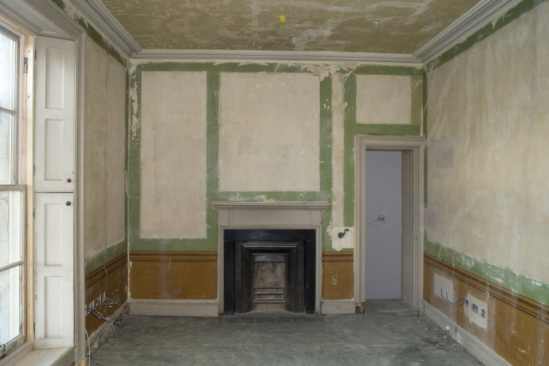 Interior. View of earlier painted decoration within bedroom