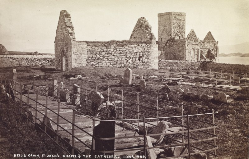 Titled 'Reilig Oran, St Oran's Chapel & the Cathedral, Iona',  from the SW, photographer not identified but may be J. V.  Mounted.