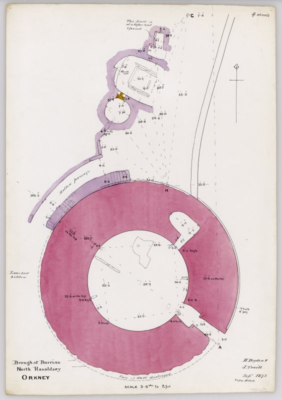 Plan of broch of Burrian, North Ronaldsay, and outbuildings.