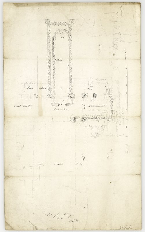 Plan of surviving structures and those revealed by excavation, showing form of early nunnery, choir and  apse, with measurements of revealed structures in South transcept, and site of nave outlined. Titled: 'Coldingham Priory. 1856.'
