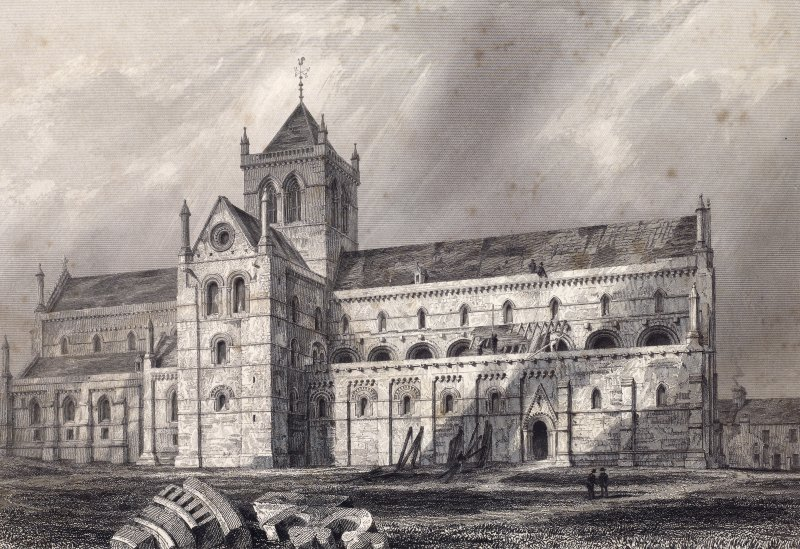 Engraving showing view of St Magnus Cathedral, Kirkwall, from north