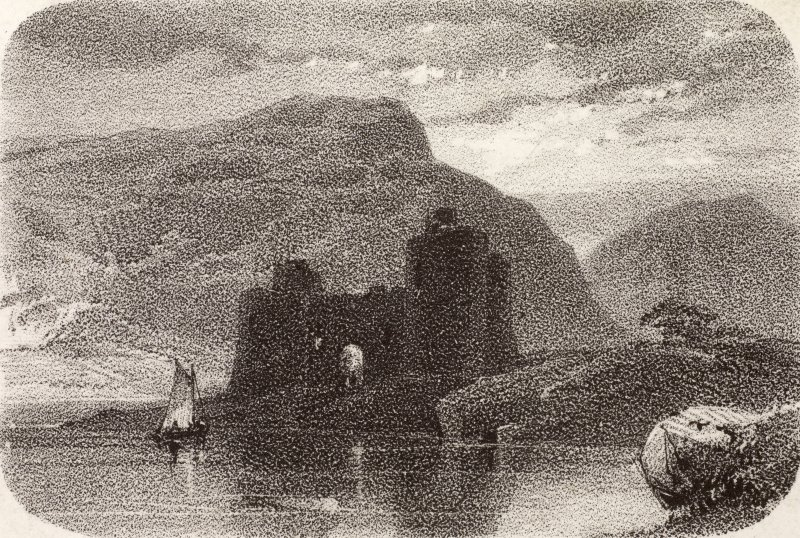Engraving showing view of Inverlochy Castle from south-west