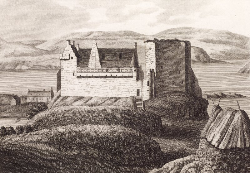 Engraving showing view of Dunvegan Castle, Skye, from east with shieling in foreground to the right Titled: 'DUNVEGAN CASTLE.'
