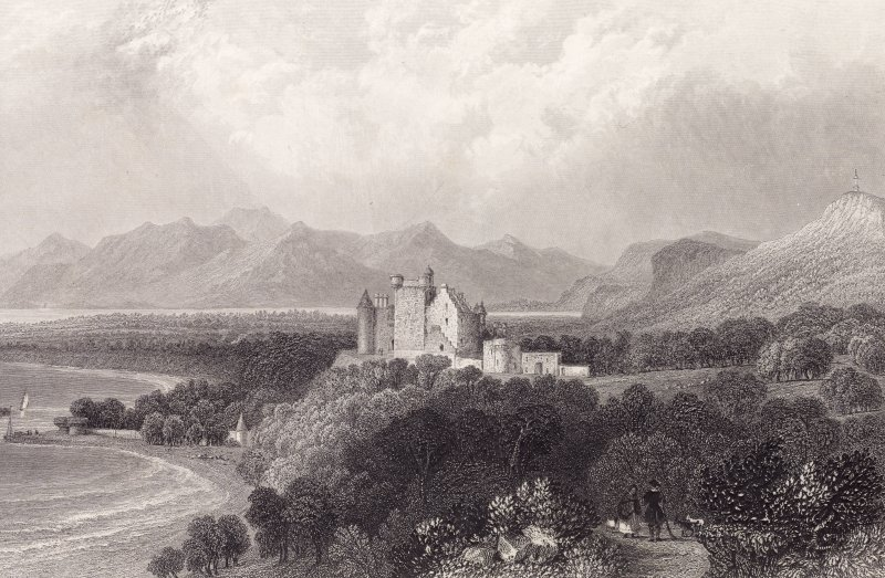 Engraving showing view of Dunrobin Castle from east Titled: 'from a sketch by the Dutchess Countess of Sutherland. DUNROBIN CASTLE. (Sutherlandshire)'