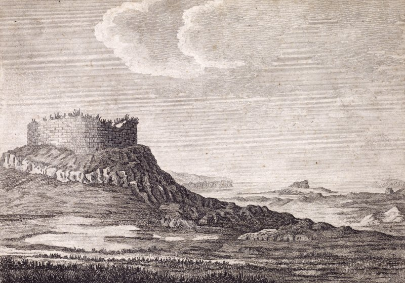 Engraving showing view of Dun Beag broch, Struanmore  Titled: 'DANISH FORT IN SKIE'