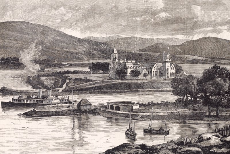 Engraving showing general view of Fort Augustus Abbey including accompanying text