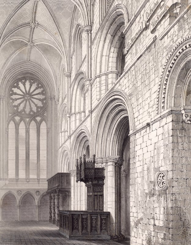 Engraving showing interior view of St Magnus Cathedral, Kirkwall
