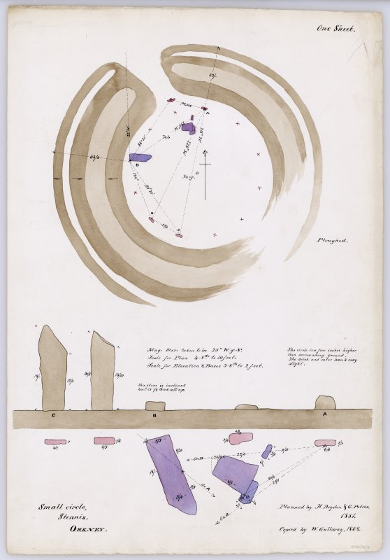 Plan & elevation of Stones of Stenness.
