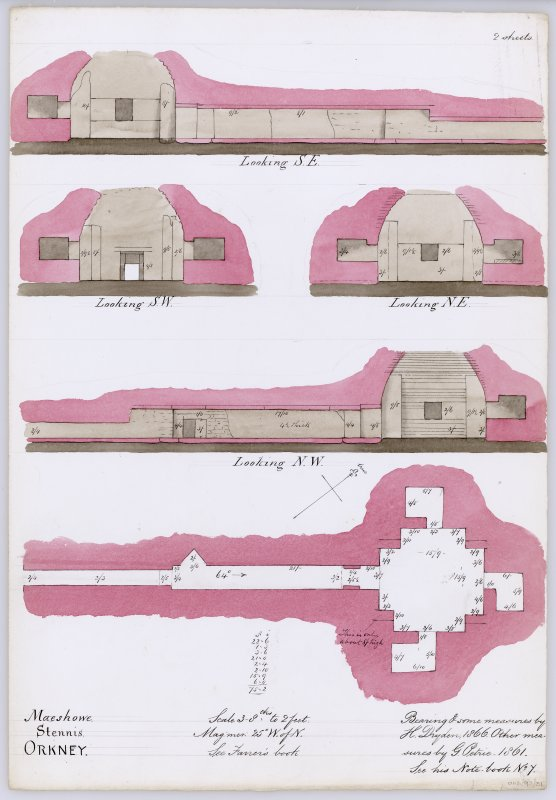 Section through N cell, chamber and passage of Maes Howe looking SE; sections through chamber and side cells looking SW and NE; section through N passage, chamber and N cell looking NW; ground plan of chamber and passage, all with annotations and measurements. Drawn by H Dryden in 1866, using own bearings and some measurements, together with measurements taken by G Petrie in 1861.