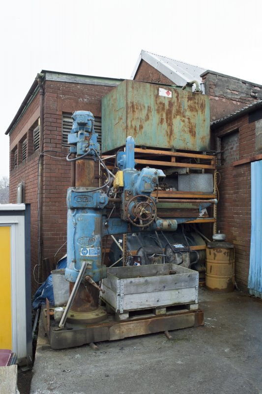 Main Entrance. Spare coring machine (vertical drill).