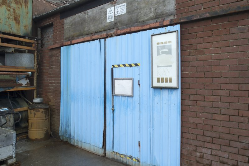 Main Entrance. Extension (c.1960) post demolition of upper floors above Main Workshop space.