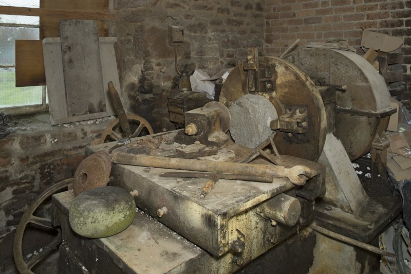 Interior. Rough Out Shed. Ground floor. Rough Out machine (disused since 1980s), installed by Andrew Barclay (Kilmarnock) c.1959. Machine set up to roughed out block on machine and tools used including key for tightening the tool bar holder.