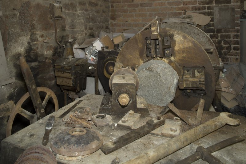 Interior. Rough Out Shed. Ground floor. Rough Out machine (disused since 1980s), installed by Andrew Barclay (Kilmarnock) c.1959. Detail of cutting tool bar and roughed out bock. Machine set up to roughed out block on machine and tools used including key for tightening the tool bar holder.