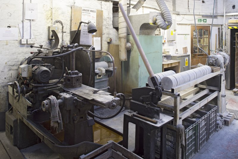 Interior. Former Turning Shop, now Giftware. Lathe no.9. This saws giftware cores.