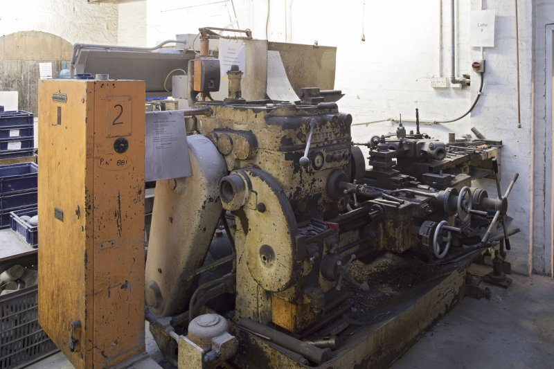 Interior. Former Turning Shop, now Giftware. Engineering Lathe. No.8. For general use.