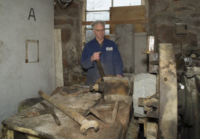 Interior. Rough Out Shed. Ground floor. View of rough out machine (disused) and Mr James Wyllie.