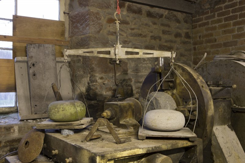 Interior. Rough Out Shed. Ground floor. Balance scales originally used to weigh curling stones against standard stone.