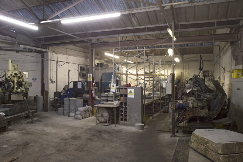 Interior. Main Workshop. General view from South.Lathe 3 on right and Vertical Corer 2 on extreme left. Finishing and quality control are in the central area.