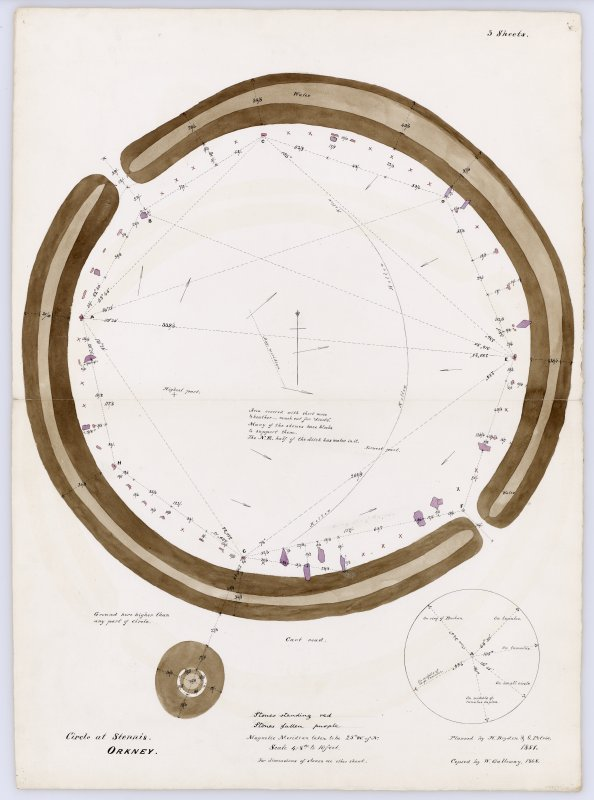 Plan of Ring of Brodgar with notes and measurements, planned by H Dryden and G Petrie in 1851, copied by W Galloway in 1868. Titled: ''Circle at Stennis, Orkney'.