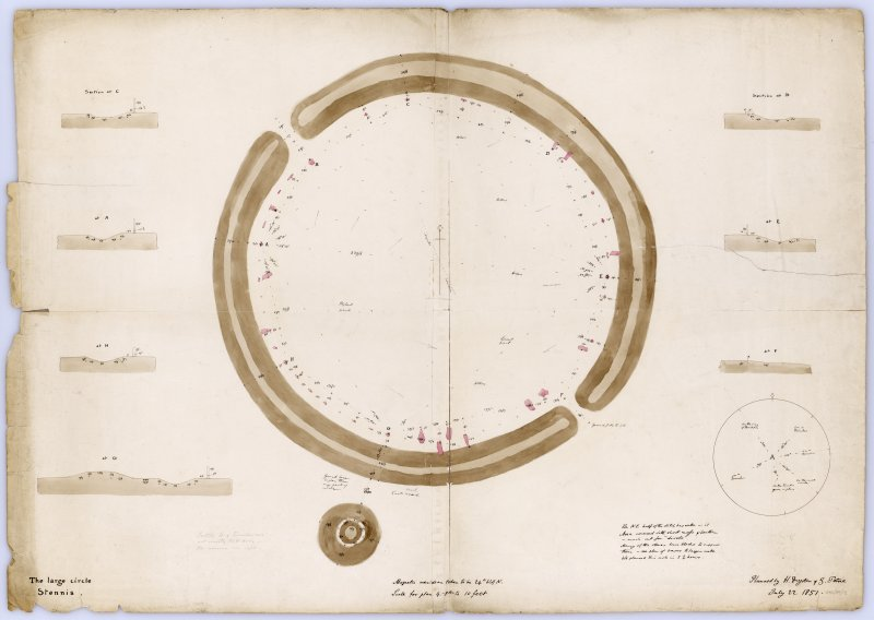 Plans of Ring of Brodgar with notes and measurements; sections through ditch taken at 7 points around circle. Drawn by H Dryden and G Petrie in 1851.  Titled: 'The large circle, Stennis'.