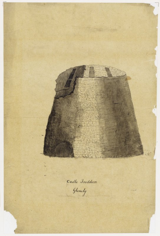 Drawing showing section.  Titled: Castle Troddan, Glenelg'.