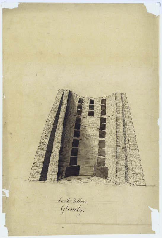 Drawing showing broch.  Titled: Castle Tellve, Glenelg'.
