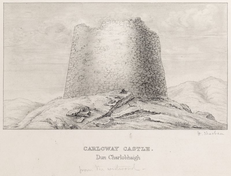 View of Dun Carloway broch. Titled: 'Carloway Castle. Dun Charlobhaigh'.