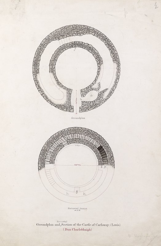 Plans of Dun Carloway broch. Titled: 'Groundplan and Section of the Castle of Carloway, Lewis (Dun Charlobhaig)'.