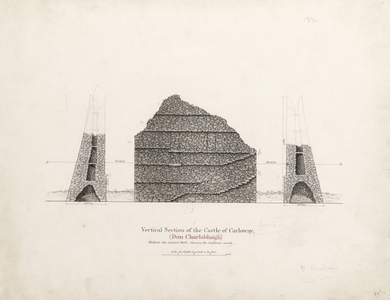 Section and elevation of Dun Carloway broch. Titled: 'Vertical Section of the Castle of Carloway. Dun Charlobhaigh. Without the interior wall, showing the Galleries inside'.