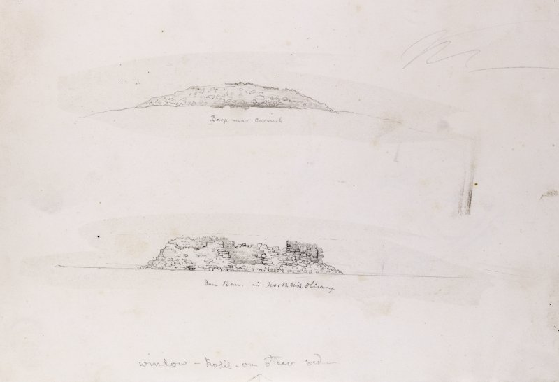 Sketch views of cairn and dun at Carinish.