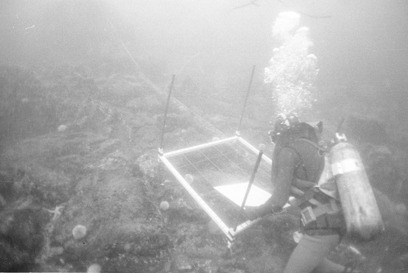Keith Muckelroy surveying the sea-bed in the vicinity of the large anchor, almost certainly belonging to El Gran Grifón and found some 60m to seaward of the main site in a depth of 23m (1977).