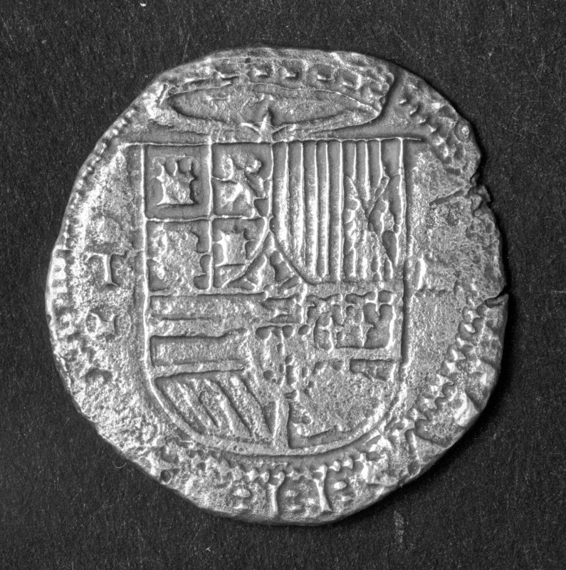 Silver 4-real coin of Philip II minted at Toledo (obverse).