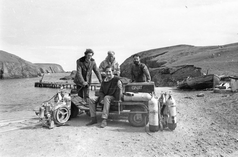 The 1970 team at North Haven with their Grant all-terrain vehicle. From left: Chris Oldfield, Simon Martin (seated), Sydney Wignall and Colin Martin. (photographer unknown)