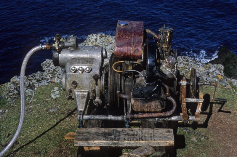 The industrial compressor on the cliff-top used to power the airlift (1977).