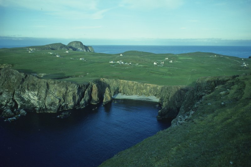 The present-day crofts on Fair Isle, seen from the south-west end of the island. The clusters of croft buildings approximate to the 'seventeen households living in huts' descried by one of the Grifón survivors in 1588 (1977).