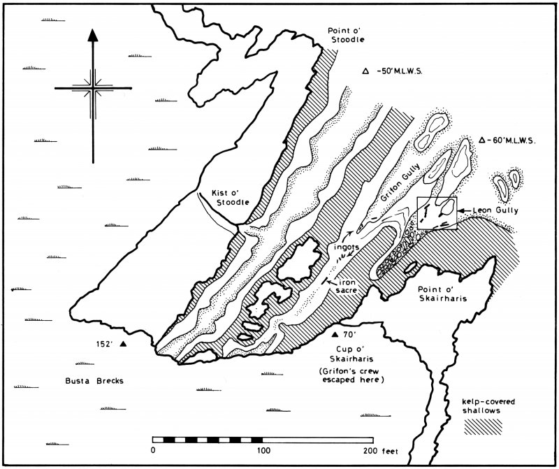 General plan of the wreck-site, 1970.
