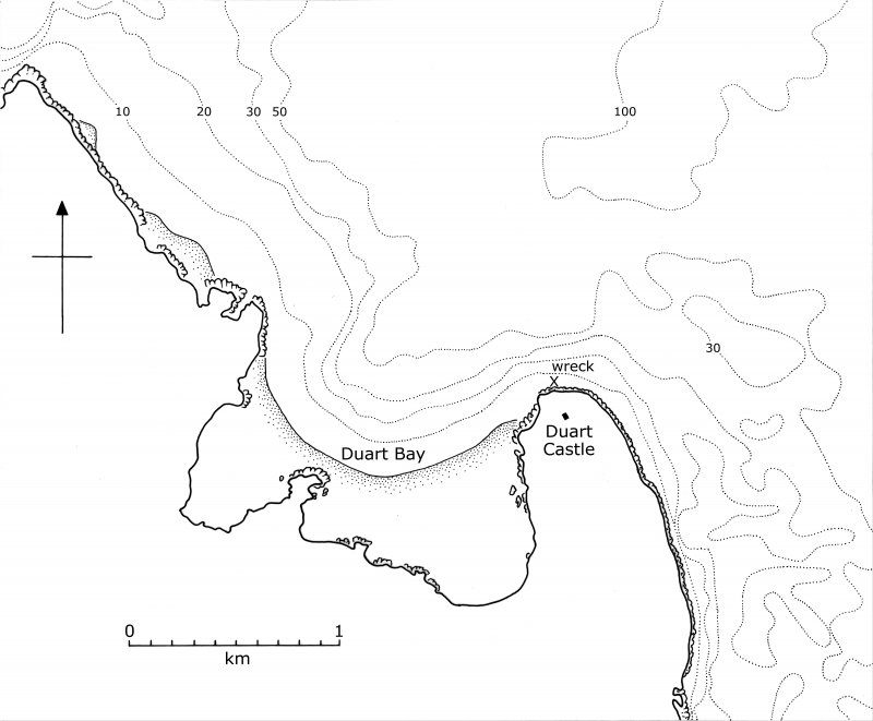 Duart Castle and Bay, Isle of Mull, showing depth contours in metres and the location of the Duart Point shipwreck.