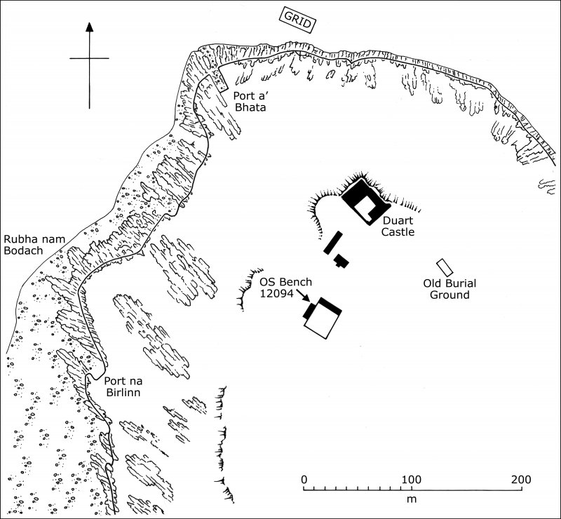 Duart Castle and environs showing the position of the survey grid associated with the Duart Point shipwreck.