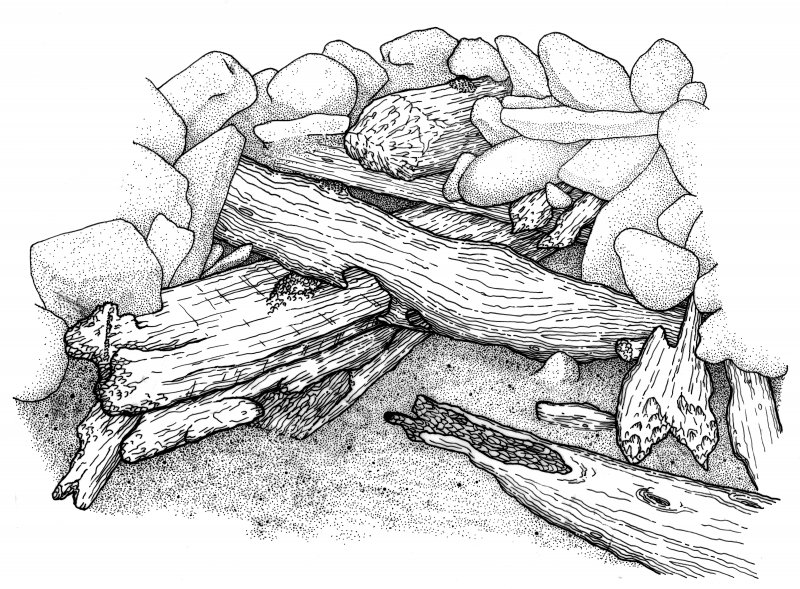 Sketch of the eroded forwardmost surviving structure excavated beneath the ballast mound. (Graham Scott)