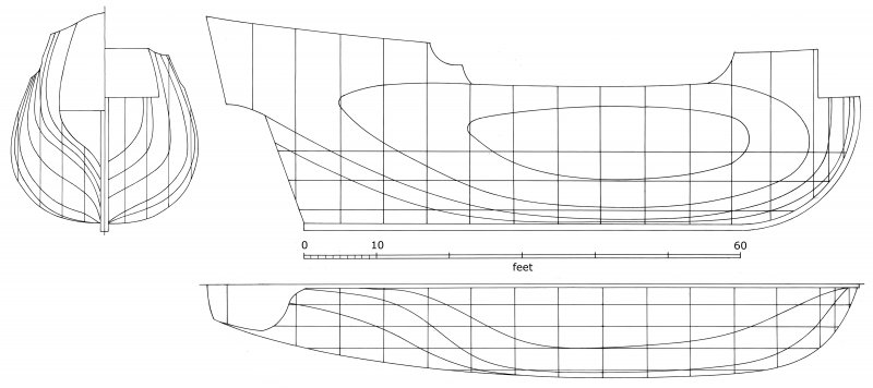 Tentative reconstruction of the Duart Point ship's lines, based on the available archaeological and other evidence. Scale in feet to accord with contemporary sources.