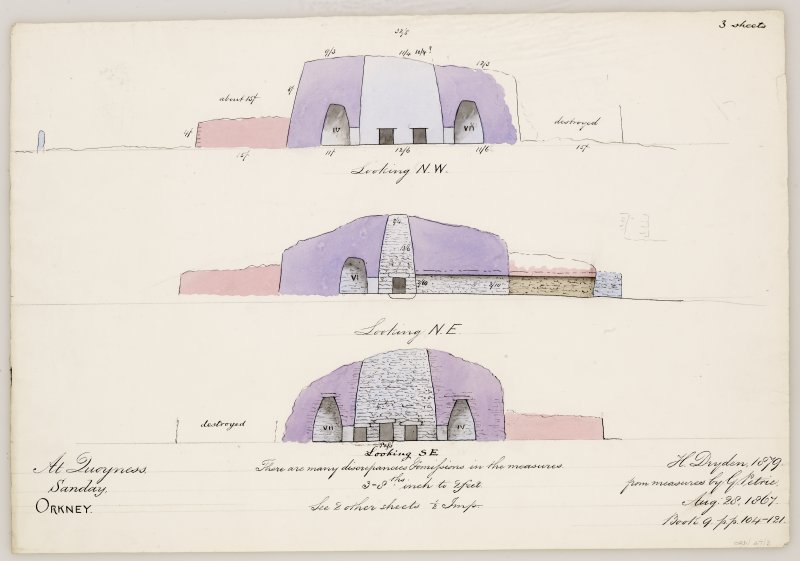 Sections through Quoyness chambered cairn. Drawn by H Dryden 1879 after measures by G Petrie 1867.