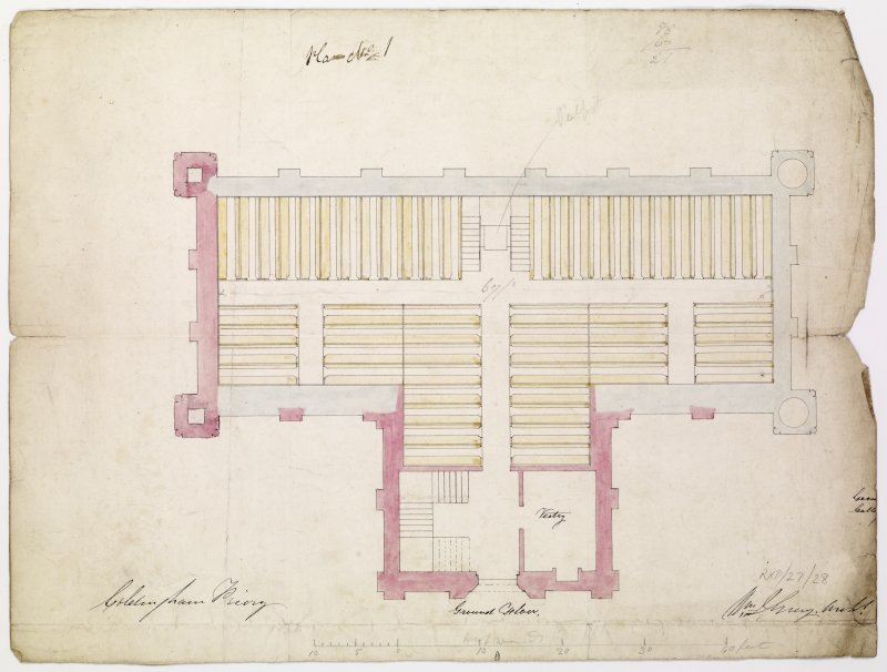 Ground floor plan of Priory including positioning of pews and pulpit against the north wall. The new work is shown in pink.   Titled: 'Plan no.1. Coldingham Priory'.