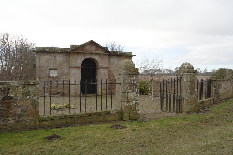 General view of the Cambo Estate mausoleum, taken from north east.