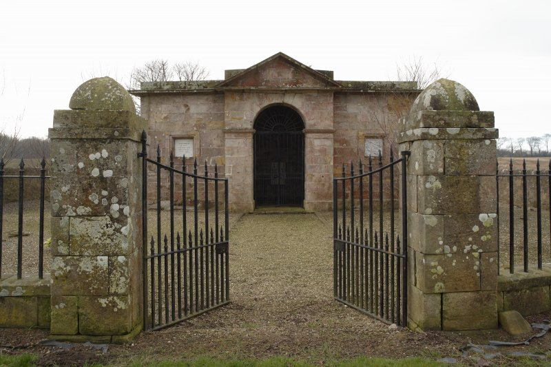General view of the Cambo Estate mausoleum, taken from north east through gateway.