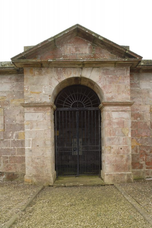 Detail of pedimented entrance to the Cambo Estate mausoleum, taken from north east.